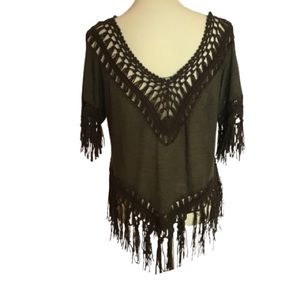 Boho hippie fringed coverup top